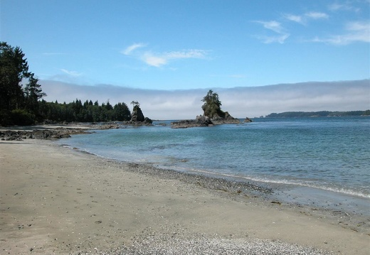 The beach outside Bamfield. Note the fog in the sound.