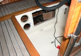 Where the engine panel used to be - this got fiberglassed over and made more space in my galley locker